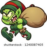 evil cartoon christmas elf ... | Shutterstock .eps vector #1240087405