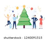 business people celebrating new ... | Shutterstock . vector #1240091515