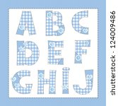 blue fabric alphabet. letters a ... | Shutterstock .eps vector #124009486