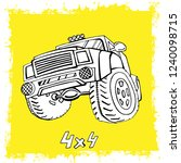hand drawn offroad 4x4 car in...   Shutterstock .eps vector #1240098715