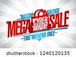 cyber monday mega sale  vector... | Shutterstock .eps vector #1240120135