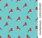 seamless pattern with bullfinch ... | Shutterstock .eps vector #1240120285