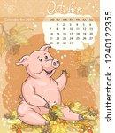 calendar for october 2019  year ... | Shutterstock .eps vector #1240122355