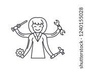 multitasking line icon concept. ... | Shutterstock .eps vector #1240155028