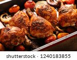 roasted chicken drumstick with... | Shutterstock . vector #1240183855