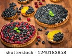 sweet tarts with fruits ... | Shutterstock . vector #1240183858