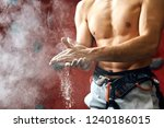 closeup of muscular male with... | Shutterstock . vector #1240186015