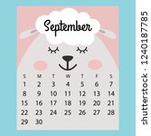 calendar 2019. cute funny... | Shutterstock .eps vector #1240187785