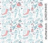 hand drawn christmas pattern... | Shutterstock .eps vector #1240194445