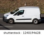 Small photo of WIEHL, GERMANY - OCTOBER 13, 2018: Peugeot Partner panel van on motorway. The Peugeot Partner is produced by the PSA Peugeot Citroen alliance since 1996.
