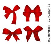 set of red gift bows. vector... | Shutterstock .eps vector #1240203478