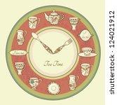 vintage illustration of clock... | Shutterstock .eps vector #124021912