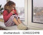 child in warm comfort sweater... | Shutterstock . vector #1240222498