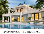 modern white house with... | Shutterstock . vector #1240232758