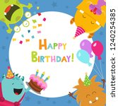 cute birthday card with monsters | Shutterstock .eps vector #1240254385