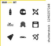 exercise icons set with boxing  ...