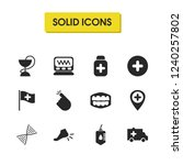 healthcare icons set with pill...