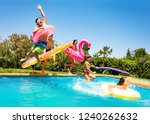 Happy Friends Jumping In Pool...