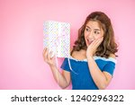 beautiful happy woman with gift ... | Shutterstock . vector #1240296322
