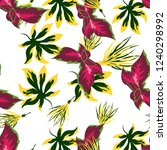 tropical flower seamless vector ... | Shutterstock .eps vector #1240298992