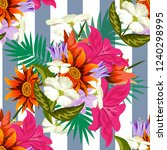 tropical flower seamless vector ... | Shutterstock .eps vector #1240298995