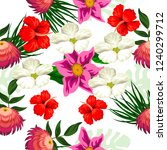 tropical flower seamless vector ... | Shutterstock .eps vector #1240299712