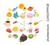 creamy food icons set.... | Shutterstock .eps vector #1240299928