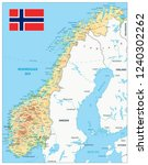 norway physical map. highly... | Shutterstock .eps vector #1240302262
