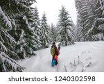 young man snowboarder walking... | Shutterstock . vector #1240302598