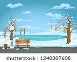 Winter Day Park Scene. Snow...