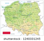 poland physical map isolated on ... | Shutterstock .eps vector #1240331245