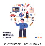 online learning system icons... | Shutterstock .eps vector #1240345375
