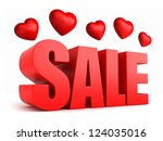 3d render of sale with hearts | Shutterstock . vector #124035016