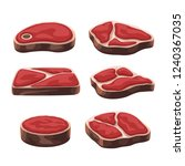 steak set on white | Shutterstock .eps vector #1240367035