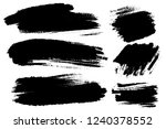 Vector set of hand drawn brush strokes, stains for backdrops. Monochrome design elements set. Black color artistic hand drawn backgrounds rectangular shape.