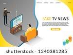 fake live breaking tv news...   Shutterstock .eps vector #1240381285