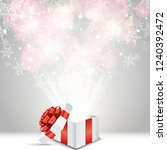 opened gift box with red bow... | Shutterstock .eps vector #1240392472