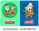 christmas greeting pages  santa ... | Shutterstock .eps vector #1240398745