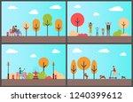 autumn park man sitting on... | Shutterstock .eps vector #1240399612