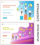 Achieving business excellence, workers with prize vector. Rocket startup of company, person leading people, leader walking up stairs. Gears and trophy