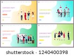 corporate party of workers... | Shutterstock .eps vector #1240400398