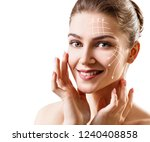 face lift anti aging lines on... | Shutterstock . vector #1240408858