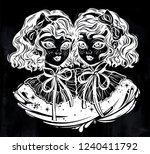 gothic victorian twin witch... | Shutterstock .eps vector #1240411792