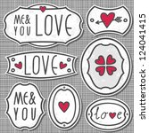 set of 7 hand drawn love sign... | Shutterstock .eps vector #124041415