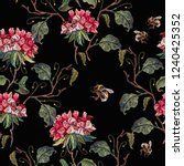 red flowers botany embroidery... | Shutterstock .eps vector #1240425352