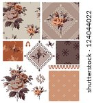 1940's vector seamless floral... | Shutterstock .eps vector #124044022