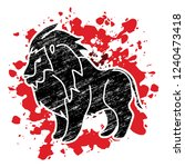 lion standing side view graphic ... | Shutterstock .eps vector #1240473418