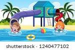 children at the water park... | Shutterstock .eps vector #1240477102