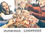 friends group celebrating... | Shutterstock . vector #1240494505