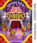 circus animal show and acrobat... | Shutterstock .eps vector #1240507348